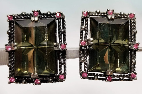 Designer by SAC, earrings, clip on, green stones, pink rhinestones in gold tone