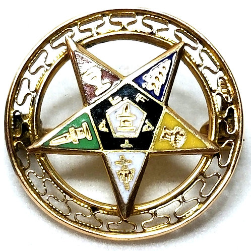 Designer by provenance, pin, Masonic motif, multi color, 10K gold.