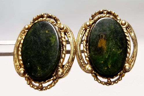 Designer by Star, earrings, green marbled cabochons in gold tone pot metal.