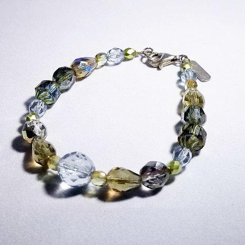 Designer by Ash, bracelet, multi color AB faceted beads, silver tone