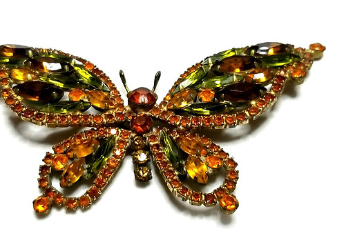 Designer by provenance, brooch, butterfly motif, multi color rhinestones.