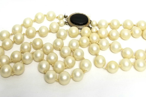 Designer by Coro, necklace, two strand faux pearls in gold tone, black cabochon.