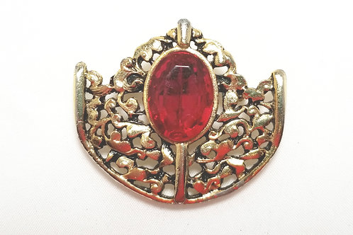 Designer by provenance brooch, red glass in gold tone setting