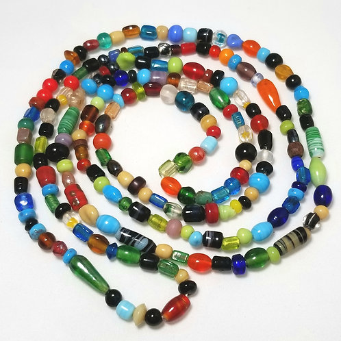 Designer by provenance, multi-colored beaded necklace, 48 inches