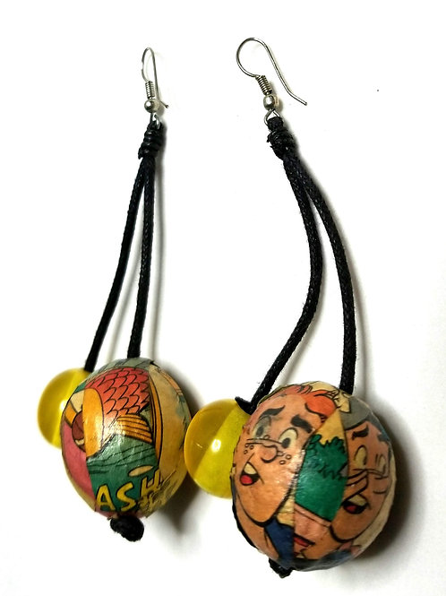 Designer by provenance, earrings, dangles, Archie comics motif, 1 1/2 x 3 3/4 in