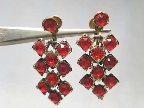 Designer by provenance earrings, dangles, red rhinestones, screw backs