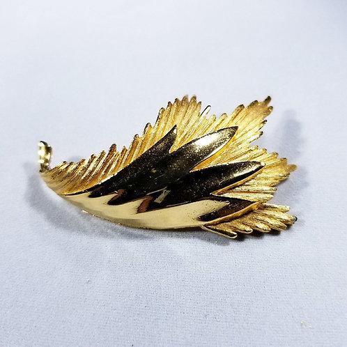 Designer Alan Jo, brooch, gold tone leaf motif