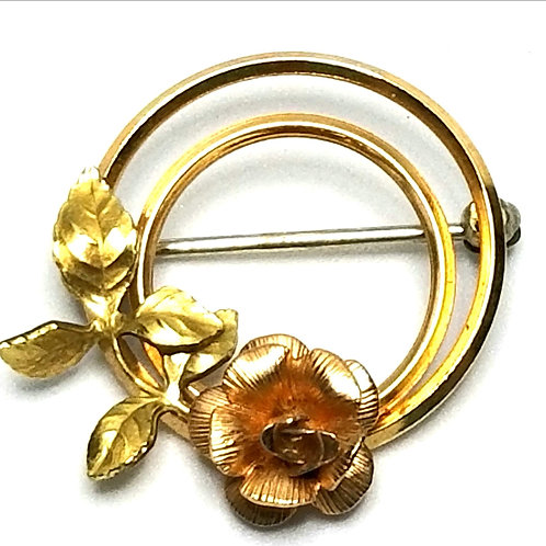Designer by Krementz, brooch, flower motif, gold tone and rose gold tone, 1 inch