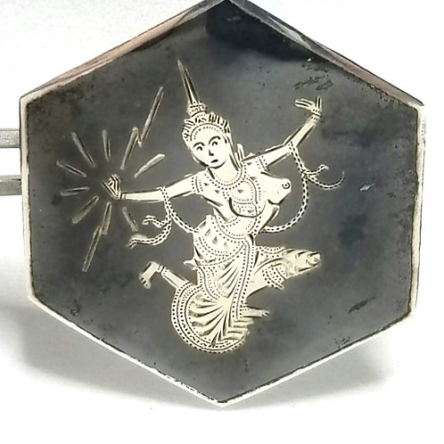 Designer by Siam, brooch, woman motif, black and silver tone, marked Sterling.