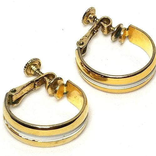 Designer by Napier, earrings, screw back, hoops, white enamel in gold tone.