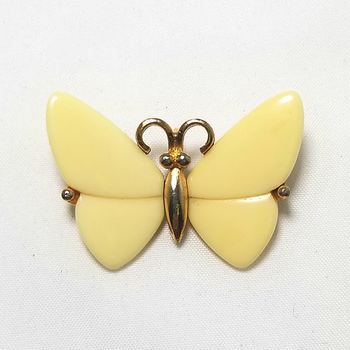 Crown Trifari, butterfly pendant, creme and gold tone, 1 1/2 x 1 inches long.