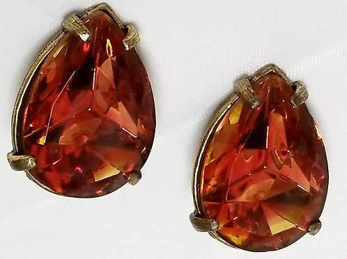 Designer by Judy Lee, earrings, orange glass teardrop cabochons in gold tone