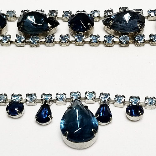 Designer by Laurel Burch, set, necklace and bracelet, blue rhinestones.