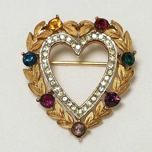 Crown Trifari, heart shaped brooch with multi color and clear crystals, 1 inch