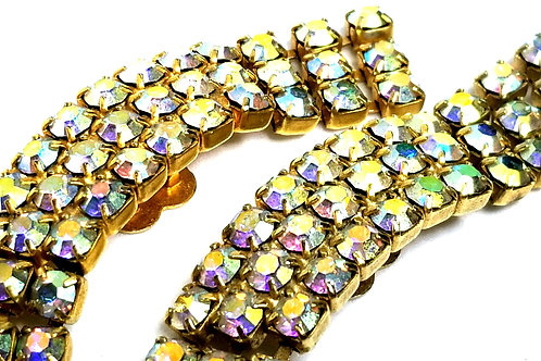 Designer by provenance, shoe clips, opalescent glass crystals, gold tone.