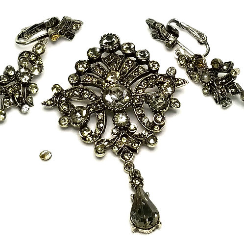 Designer by Art, set, brooch and earrings, clip on dangles, clear rhinestones.