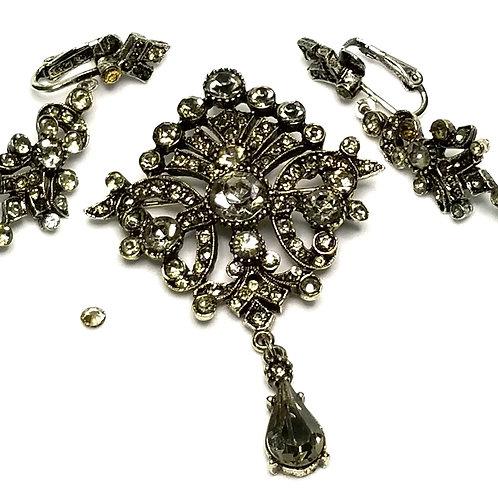 Designer by Art, set, brooch and earrings, clip on dangles, clear rhinestones.