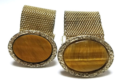 Designer by Dante, cuff links, brown oval stones in gold tone, 7/8 x 5/8 inch.