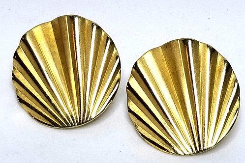 Designer by Napier, earrings, fan motif, gold tone 1 1/8 inches.