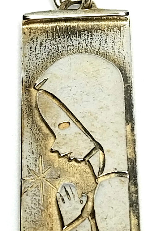 Designer by JB, charm/pendant, religious motif, Sterling silver, 7/16 x 1 1/8 in