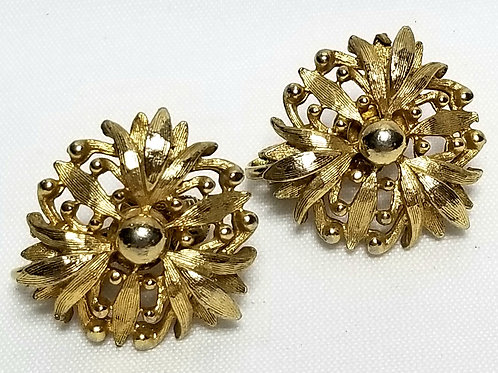Designer by Coro, earrings, clip on gold tone floral motif, 7/8 inch.