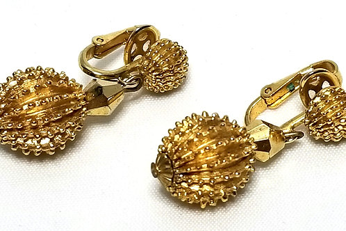 Designer by Crown Trifari, clip on dangle textured gold tone beads.