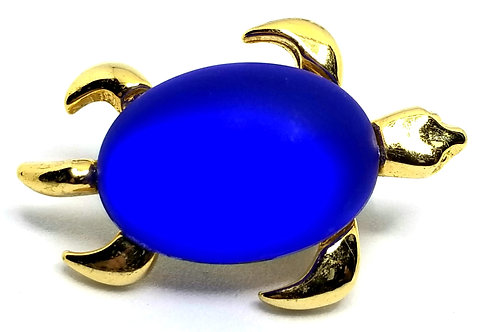 Designer by provenance, pin, turtle motif, blue glass stone, gold tone.