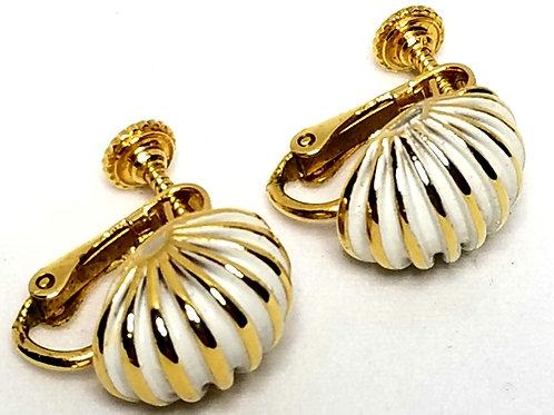 Designer by Napier, earrings, screw back, shell motif, white enamel in gold tone