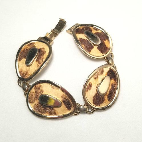 Designer by Bergere, bracelet, link bracelet faux leopard print, 7 1/2 inches