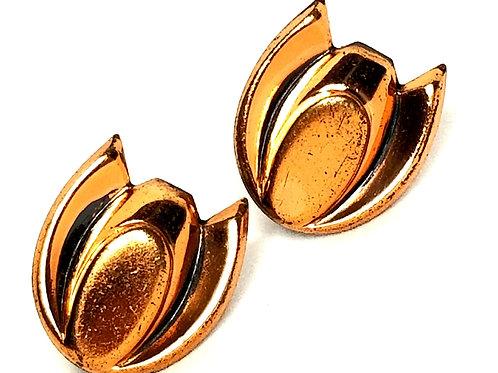 Designer By Renoir, earrings, screw back, tulip motif, copper metal.