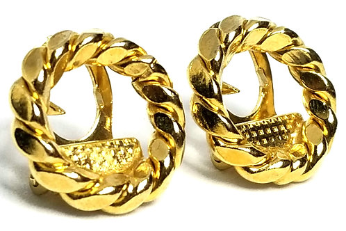 Designer by provenance, scarf clips, rope motif, gold tone, 3/4 inch.