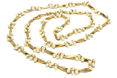 Designer by provenance, necklace, round white faux seed pearls, gold tone.