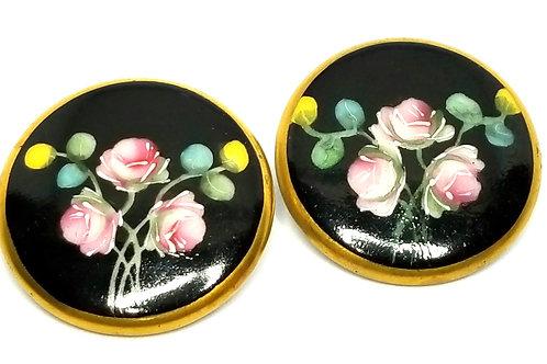 Designer by provenance, buttons, flower motif, multi color painted ceramic.