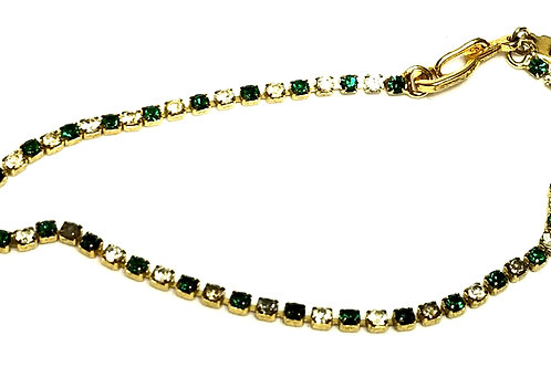 Designer by IM, bracelet, tennis style, green/clear stones, gold tone.
