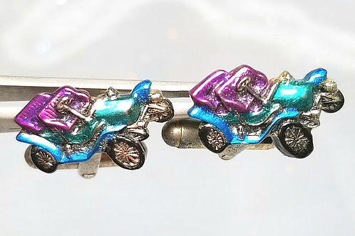 Designer by provenance, cuff links, antique car motif, multi-colored 3/4 inch