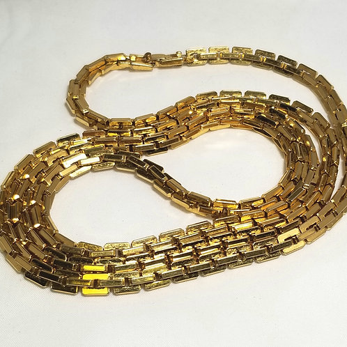 Monet, gold tone link necklace, 37 1/2 inches long.