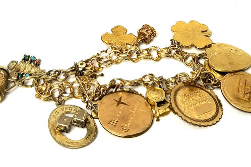 Designer by Forstner, bracelet, charms, Sterling and gold filled charms/chain.