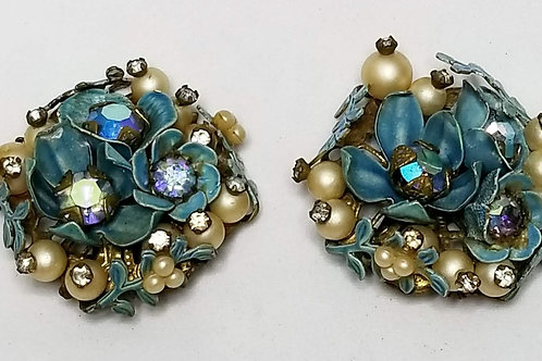 Designer by Miriam Haskell, clip back, blue and white flowers with rhinestones