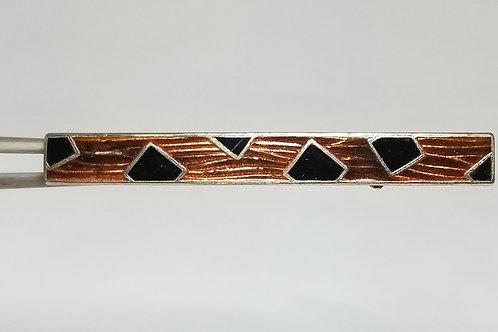 Designer by provenance, brooch, brown and black patterned brooch, 2 1/2 inch