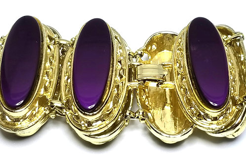 Designer by provenance, bracelet, purple oval cabochons, gold tone, 8 inches.