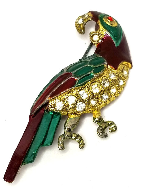 Designer by Provenance, brooch, parrot motif, multi color enamel