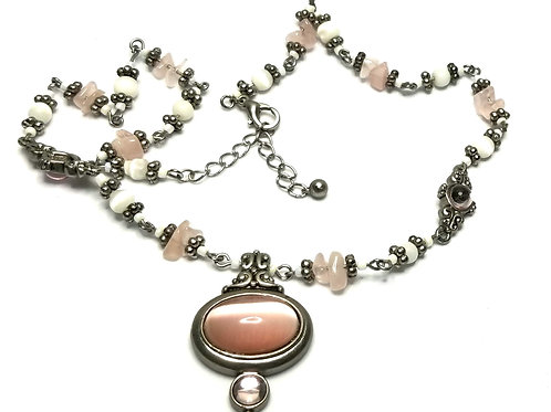 Designer by provenance, necklace, pink cabochons, pink/white beads, silver tone.