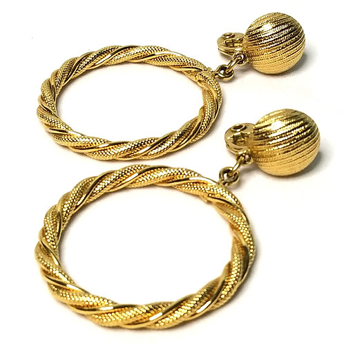 Designer by Monet, earrings, clip on dangles hoops, gold tone, 2 inches.