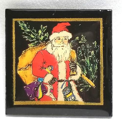 Designer by provenance, brooch, Santa motif, multi color, 1 1/2 inches.