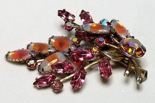 Designer by Juliana, brooch, pink and orange rhinestones cluster motif