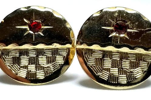Designer by provenance, cuff links, basket weave motif, red stones, gold tone.