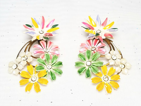 Designer by provenance, earrings, bold floral multi-color clip on  2 3/4 inch
