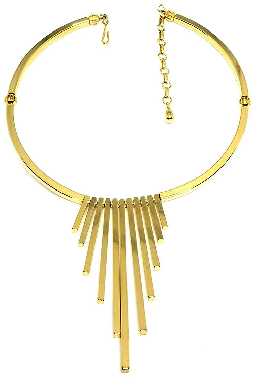 Designer by provenance, necklace, choker, gold tone graduated bars, 12 to 14 in.