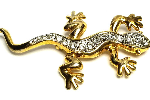 Designer by provenance, brooch, gecko motif, clear rhinestones, gold tone.