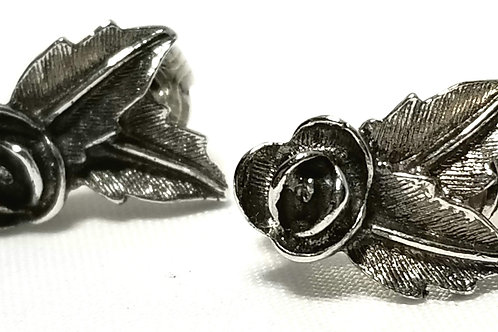 Designer By Sarah Cov, earrings, clip on rosebuds motif, silver tone.